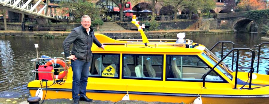 Water taxis start their trial runs along the Bridgewater Canal to Manchester