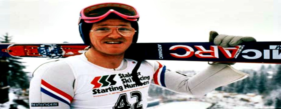 Eddie the Eagle heading for the high jump in Sale in June …